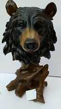 Bear Statue with wooden effect stand 29cm