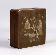 LARGE ANTIQUE CHINESE HEAVY BRONZE INK BOX WITH FIGURES QING DYNASTY CHINA