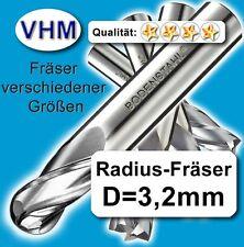 3,175*40mm VHM Fräser 2 Schneiden Radiusfräser f. Kunststoff Holz Vollhartmetall