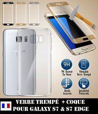 LOT Coque Gel TPU Etui Housse  slim Samsung Galaxy S7/S7 Edge +Film Verre Trempé