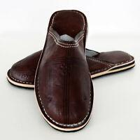 Oriental Marocchino Scarpe di Cuoio Scarpe Pantofola Pelle Marakkech Braun