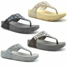TONING FLIP FLOPS Ladies Womens Low High Wedge Heel Sandals Gym Fit Thong Shoes