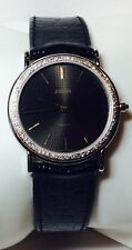 JUVENIA Unisex Watch Black Leather Band w/ Diamond Bezel in VERY GOOD Condition