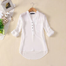 Women V-neck Chiffon Long Sleeve Casual elegant Shirt Blouse white