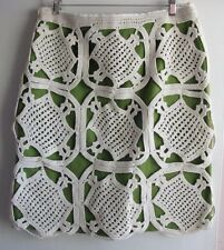 TORY BURCH NWOT GREEN IVORY CROCHETED LEXI STRAIGHT PENCIL SKIRT SZ L