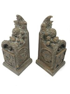 """CHRISDON EXPO Vintage Set Bronze Colored Bookends - 9"""" Tall"""
