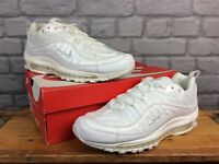 NIKE MENS UK 9 EU 44 AIR MAX 98 WHITE PATENT LEATHER MESH TRAINERS RRP £145 AD