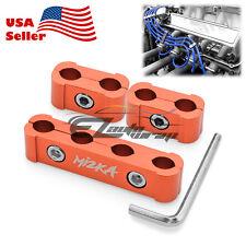 3Pcs Orange Aluminum Engine Spark Plug Wire Separator Divider Organizer Clamp