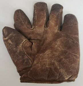 VINTAGE EARLY 1900'S SPALDING BASEBALL GLOVE MITT SPLIT FINGER FULL SEWN T WEB