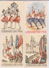 PRAGUE CZECHOSLOVAKIA 1948 SOKAL FESTIVAL POSTER STYLE POSTCARDS SET OF 10