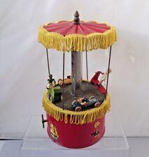 Vintage Tinplate + Wood Clockwork Merry Go Round Toy No 407 British Made Boxed