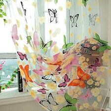 Door Window Floral Butterfly Print Voile Sheer Curtains Home Hanging Decor HO3