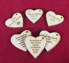 Engraved Hearts Bonboniere Gift Tags Wedding Favours CAN ADD GUEST NAMES per 25