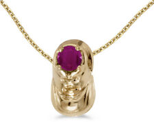 14k Yellow Gold Round Ruby Baby Bootie Pendant (Chain NOT included)