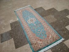 Exclusive Sea Blue Oriental Hand Knotted Rug Runner Wool Silk Carpet (6 x 2)'