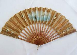 Antique Victorian Fan Wood Hand Painted Venetian Scene Venice Gilt Ladies c1870
