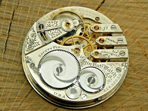 Antique Pocket Watch Movement Elgin Grade 241 16s 17j Hunting Model 6 Dial Hands