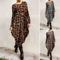 UK Women Casual Loose Long Maxi Kaftan Abaya Gown Leopard Print Midi Shirt Dress