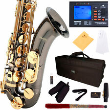 MENDINI BLACK NICKEL W/ GOLD KEYS TENOR SAXOPHONE SAX W/ TUNER, CASE, CAREKIT