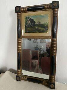 Antique Federal mirror split column wood frame signed folk art painting