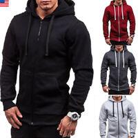 US Men Casual Hoodie Warm Pullover Cotton Sweatshirt Hooded Coat Sweater Top