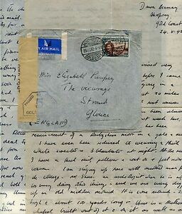 GOLD COAST AKROPONG EASTERN PROVINCE 1942 LETTER..TEACHER 1/3 AIRMAIL CENSORED