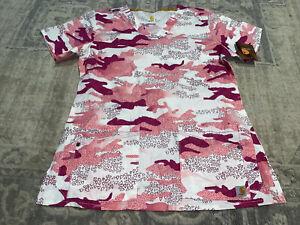 Carhartt Scrub Top Sz Small Medical Uniform Pink Nursing Pink Camo Shirt New