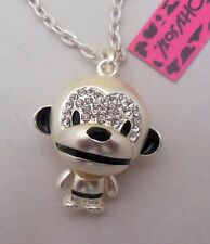 Betsey Johnson Necklace MONKEY BUSINESS  Silver Monkey Cute Crystals