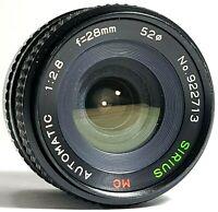 Konica Sirius MC 28mm f2.8 Wide Angle Macro Prime Lens UK Fast Post