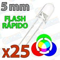 LED RGB 5mm Flash Rapido con cambio de color 2 pines luz navidad - Lote 25 unida