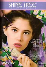 1987 Maybelline Shine Free Cosmetics Makeup Floral Sexy Vintage Print Ad 1980s
