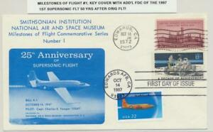 USA 1972 MILESTONES OF FLIGHT #1 KEY COVER+ FD CANCEL OF 1997 50TH ANNIV FLIGHT