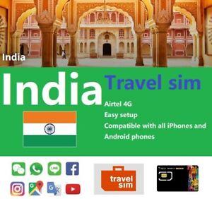 INDIA 10Days UNLIMITED DATA 4G Airtel Prepaid Travel SIM CARD HOTSPOT