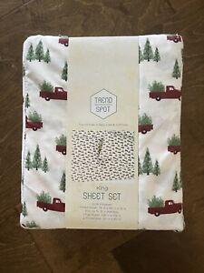 Red Trucks & Trees King Sheet Set Christmas Winter