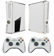 White Carbon Fiber Decal Skin Sticker for Xbox360 slim and 2 controller skins