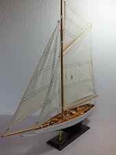 Gaffel-Segelschiff, 60 x 9 x 61 cm, lackiert, Standmodell aus Holz, Segelboot,