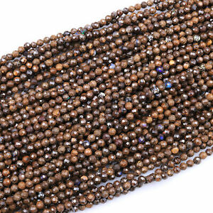 """Natural Australian Boulder Opal Faceted 3mm 4mm Round Beads 16"""" Strand"""