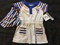 A65 New York Mets baseball size 12 Months Baby Girl Dress set 2 piece