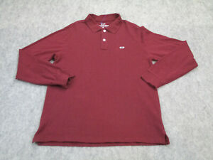 Vineyard Vines Polo Shirt Mens Extra Small Red Adult Long Sleeve Cotton