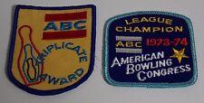 Vintage Abc Triplicate Award 1973-1974 League Champion Bowling Pins Patch Lot