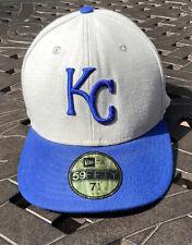 Kansas City Royals New Era 59Fifty Gray Hat Blue Kc Logo New Era