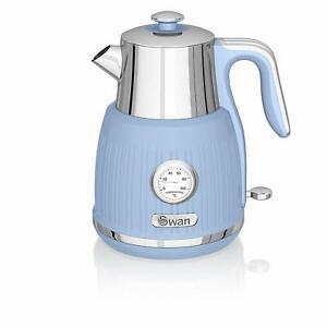 Swan Stylish Kitchen Retro BLUE 3kW, 1.5L Kettle,w Temperature Dial, Fast Boil