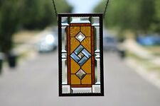 Beveled Stained Glass Window Panel, Aged Frame Work •Amber Blue
