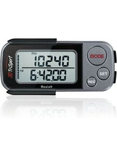 Realalt 3DTriSport 3D Pedometer, Accurate Step Counter with Clip and Strap Grey!