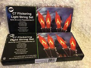 10-Light Flicker Flame String Halloween Lights Set Indoor Outdoor Orange~Lot/2