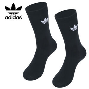 Adidas Originals Thin Trefoil Crew Socks 2 Pack Black DV1729