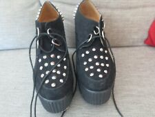 Salt & Pepper Negro Tachonado Zapatos De Plataforma-Parte Superior Negro Gamuza-Talla 41-8 en muy buena condición
