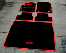 Black/Red LHD Car Mats - Opel Astra J GTC (2009-2015) + GTC Logos + Boot Mat