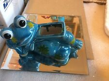 Vintage Blue Frog Planter w/ Green Daisies