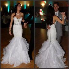 Ruffles Organza Lace Mermaid Wedding Dress Sweet backless Bridal Gown Size 4 6++